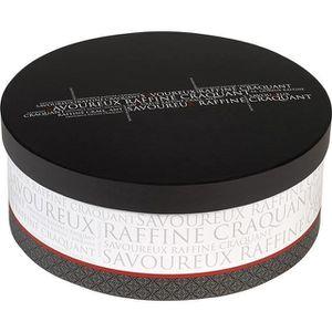 COFFRET CADEAU ÉPICERIE Boîte ronde Savoureux gris blanc rouge petit modèl