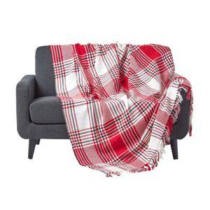 JETÉE DE LIT - BOUTIS Jeté de lit ou de canapé Tartan Rouge 150 x 200 cm