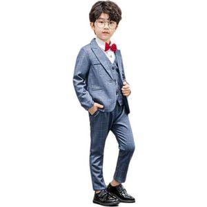 Noble /& FETE 5 pièces garçon-enfants Costume//gris-motif//mariage//communion//NEUF
