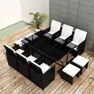 SALON DE JARDIN  Haute qualité Jeu de mobilier de jardin 27 pcs Noi
