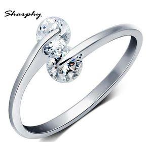 BAGUE - ANNEAU SHARPHY® Bague Femme 925 Argent Blanc Diamant Régl
