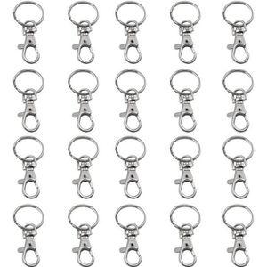 G/én/érique Lot de 50 mousquetons /à Double extr/émit/é pivotante pour Porte-cl/és Small