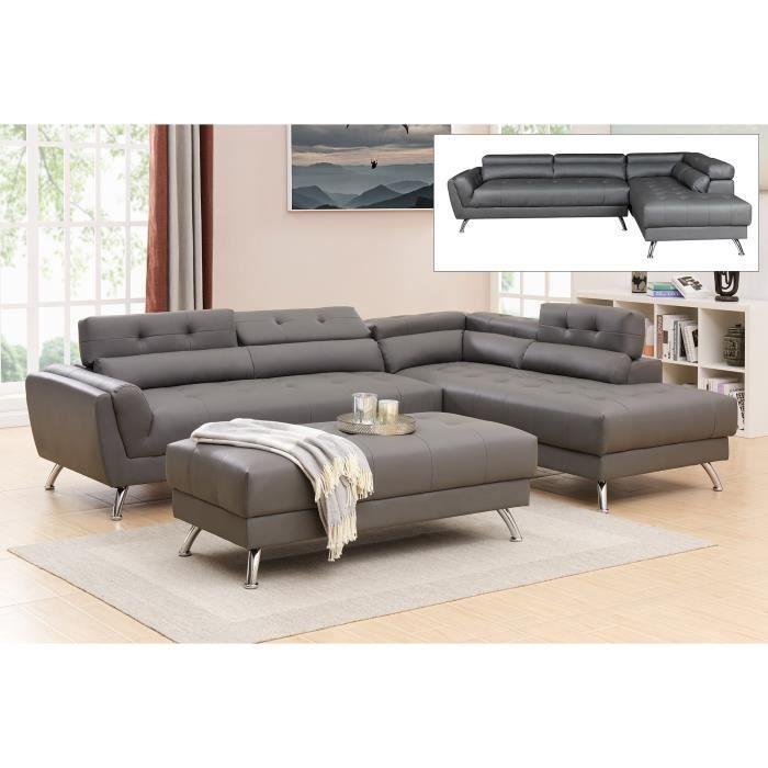 Canapé d'angle capitonné gris ALISON - Angle Droit