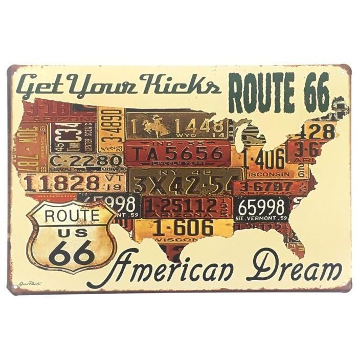 Cadre Tableau Plaque Murale métal Carte USA - Etats-Unis - Route 66 - Vintage rétro - 30 x 20 cm