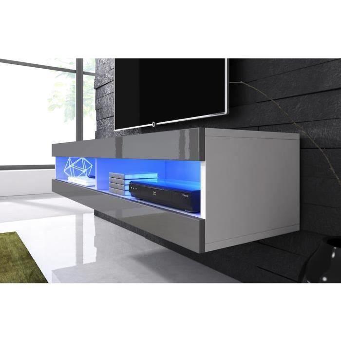 Meuble tv suspendu blanc mat façade laqué gris avec Led