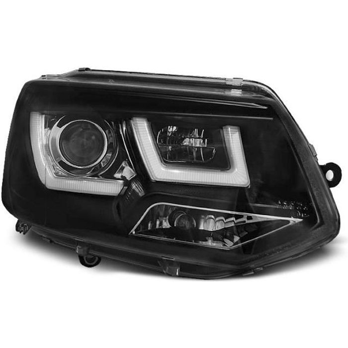 Paire de feux phares VW T5 10-15 U-Type DRL led noir (WL2)