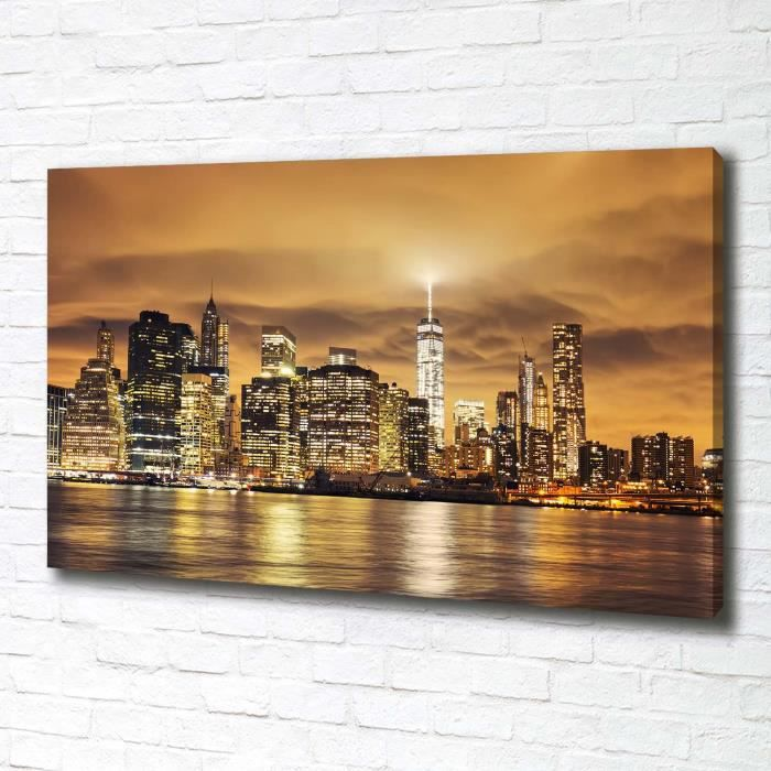 Tulup 100x70 cm art mural - Tableau sur toile:- Spectacles architecture - Manhattan New York - Jaune