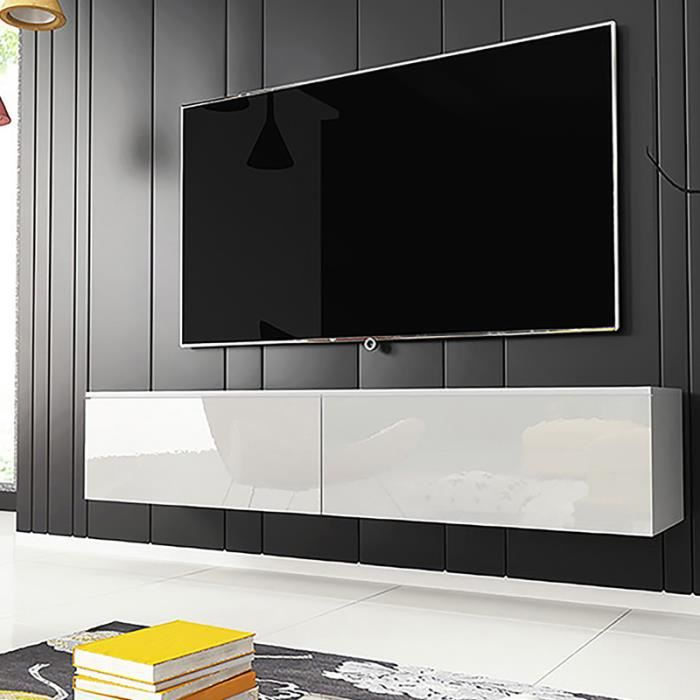 Meuble TV / Meuble de salon - KANE - 140 cm - blanc mat / blanc brillant - sans LED - style moderne