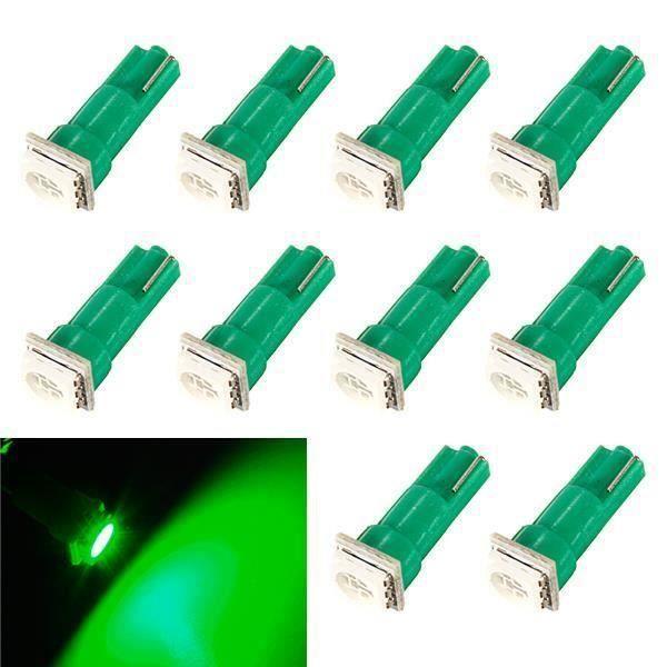 LED Ampoules Vert - Vert - 10 Pcs 10x T5 286 5050 SMD voiture Wedge Tableau de bord Speedo côté ampoule lampe 12V DC