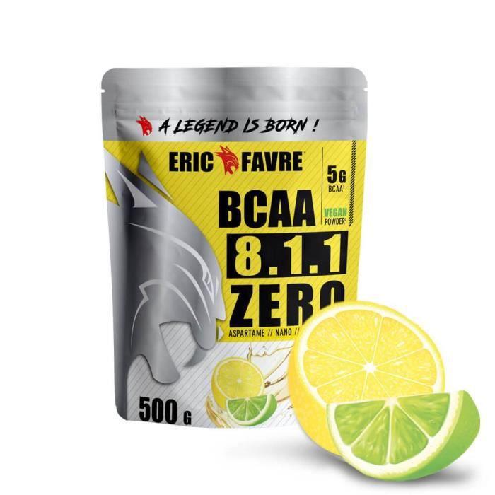 BCAA POUDRE 8.1.1 Zero - Acides Aminés Musculation Vegan 500 Gr - Laboratoire Français Eric Favre (Citron/Citron vert)