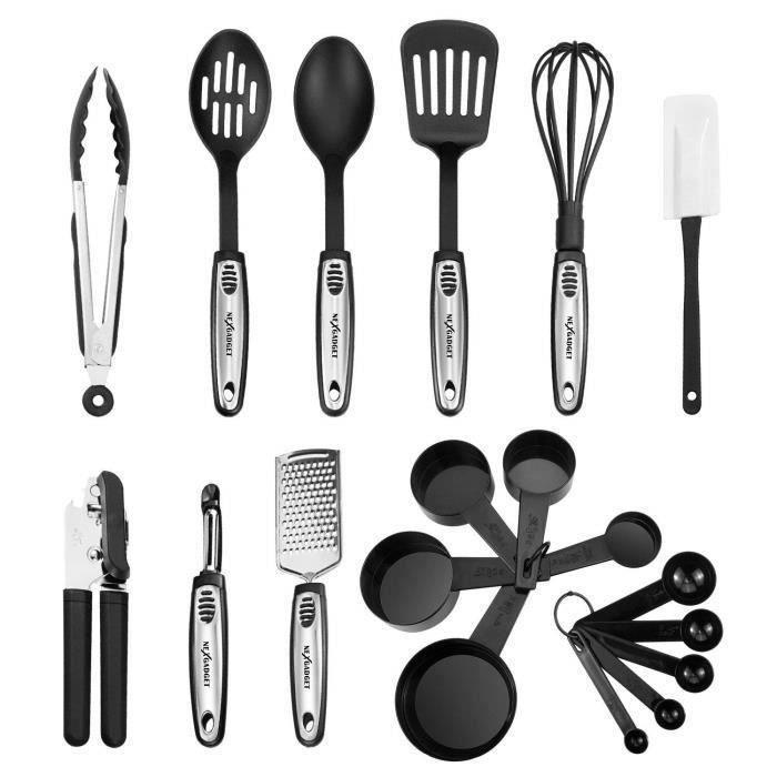NEXGADGET 19 Pièces Kit Ustensiles de Cuisine en Acier Inoxydable et Nylon Lot d'Ustensiles de Cuisine Ensemble Culinaire MC22251