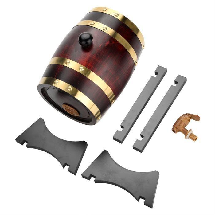 Garosa Baril de chêne Tonneau à vin en bois de chêne vintage pour bière Whisky Rum Port 1.5L