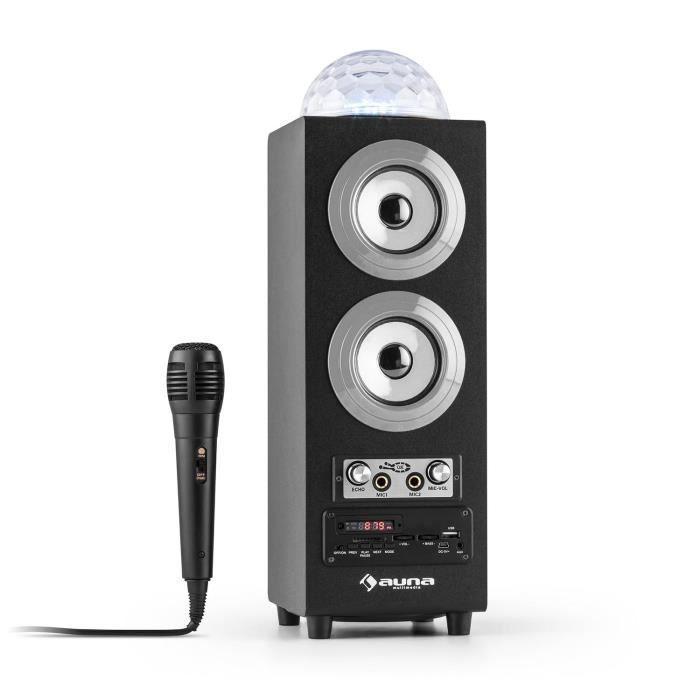 auna DiscoStar - Enceinte portable 2.1 bluetooth avec ports USB et SD pour lecture MP3, entrées micro avec effet echo pour Karaoke