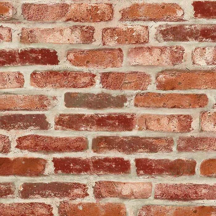 Papier peint LUTECE imitation brique Rouge 10 m x 0,52 m