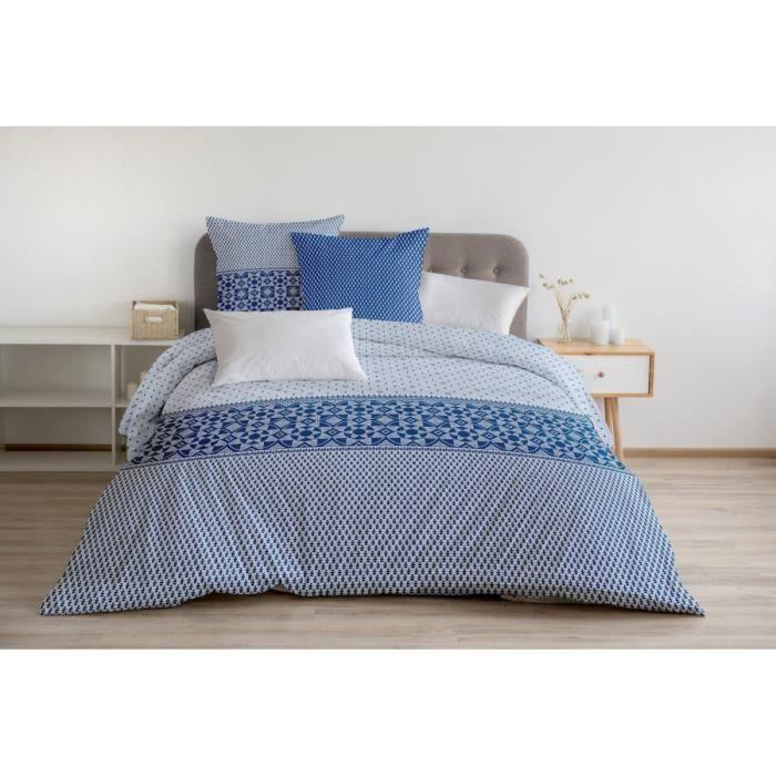 Housse de Couette 3 Pièces - 100% Coton 57 Fils - 2 Personnes 220x240 cm - NUIT BERBERE Bleu Blanc