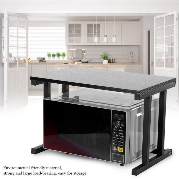 NOUVEAUX Support de Four à Micro-Ondes, Etagere Rangement Cuisine, Etagère Four Micro Onde en Multifonction de Stockage (Noir)
