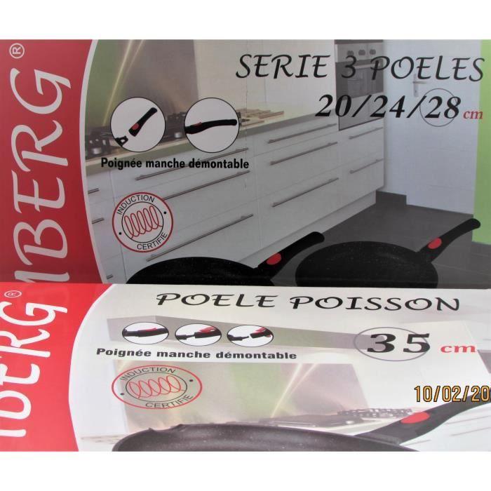 Lot 3 Poêles 20/24/28 cm et poêle à poisson 35 cm ,manches amovibles, induction, antiadhésive, Kamberg