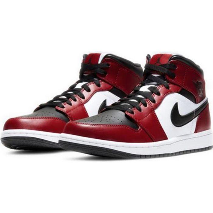 Air Jordan 1 Mid Chicago Black Toe Chaussure de Sport AJ 1 Pas Cher pour Homme Femme Rouge