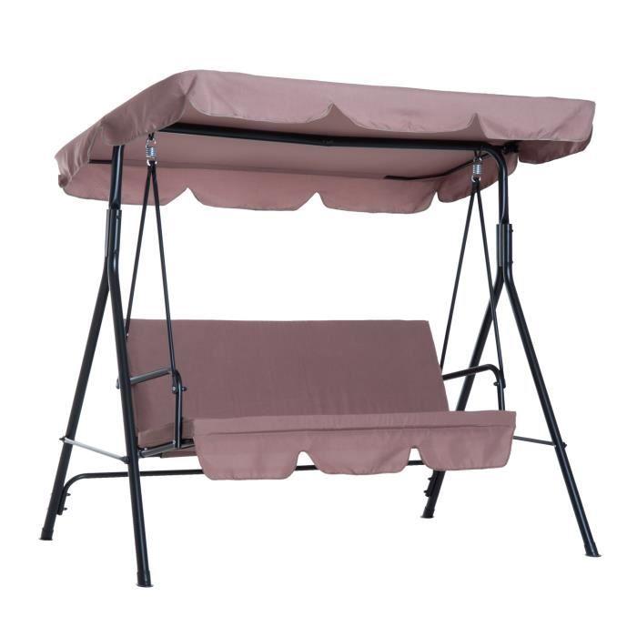 Balancelle de jardin 3 places toit inclinaison réglable coussins assise et dossier 1,72L x 1,1l x 1,52H m acier noir polyester marro