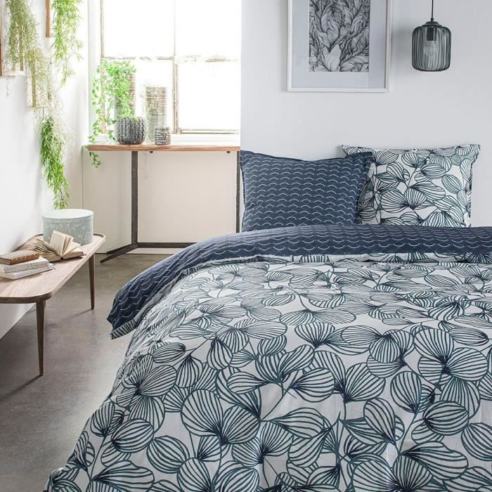 TODAY Parure de lit SUNSHINE 5.40 - 2 personnes - 220 x 240 cm coton - Imprimé Vert Floral TODAY