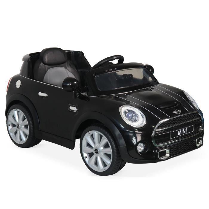 VOITURE ELECTRIQUE ENFANT MINI Cooper noire, voiture électrique 12V, 1 place