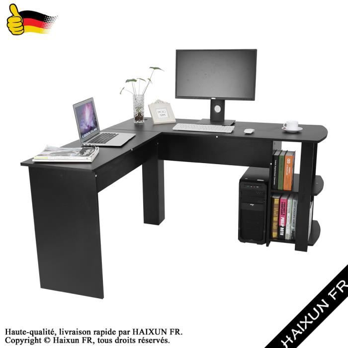 l forme bureau d 39 ordinateur d 39 angle avec tag res de livre table d 39 ordinateur pc bureau noir. Black Bedroom Furniture Sets. Home Design Ideas