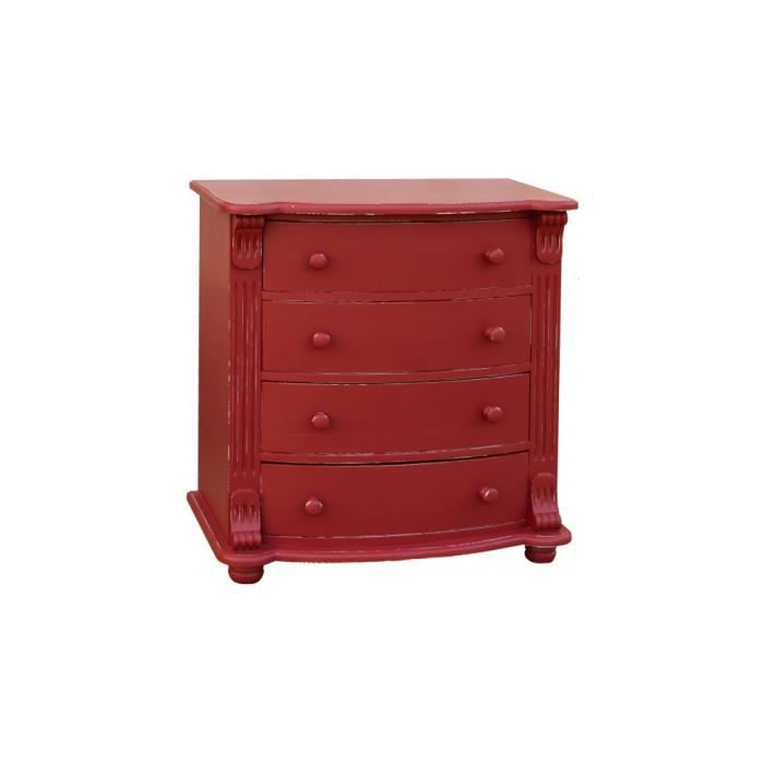 commode pin massif rouge patin 4 tiroirs achat vente commode de chambre commode pin massif. Black Bedroom Furniture Sets. Home Design Ideas