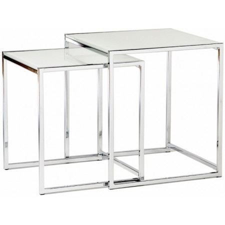 Tables gigognes en verre tremp blanc cruz achat vente - Table salon verre trempe ...