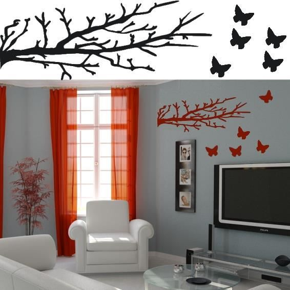 sticker mural arbre et papillons sticker noir achat vente stickers cdiscount. Black Bedroom Furniture Sets. Home Design Ideas