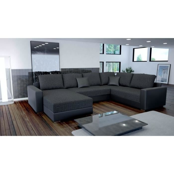canap en u panoramique still avec lit achat vente canap sofa divan cdiscount. Black Bedroom Furniture Sets. Home Design Ideas