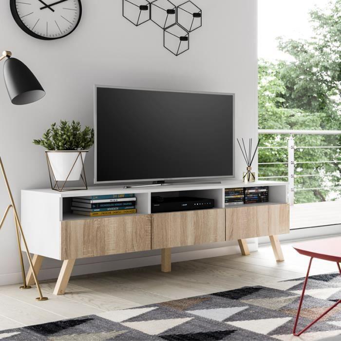Meuble TV / Meuble salon - LAVELLO BOIS - 150 cm - blanc mat / effet chêne  - sans LED - style scandinave - style nordique