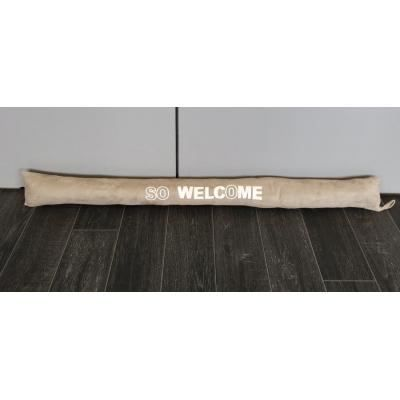 Boudin de porte velours so welcom beige claire achat for Boudin de porte 100 cm