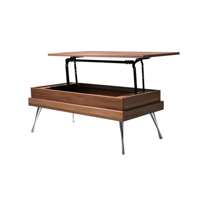 Table basse avec plateau relevable noyer leonie achat for Table basse scandinave plateau relevable