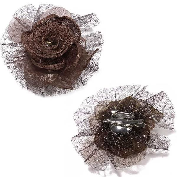 broche barrette en forme de fleur en tulle marron achat. Black Bedroom Furniture Sets. Home Design Ideas