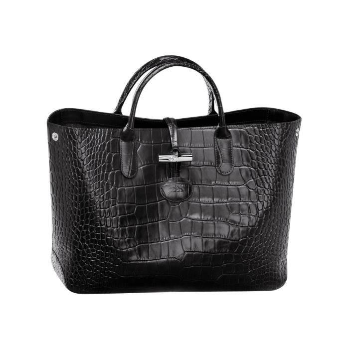 LONGCHAMP - sac femme porté main en cuir - NOIR ROSEAU CROCO ...