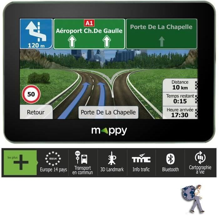 "GPS AUTO MAPPY S449, GPS 4"", 14 pays - Cartes & Trafic grat"