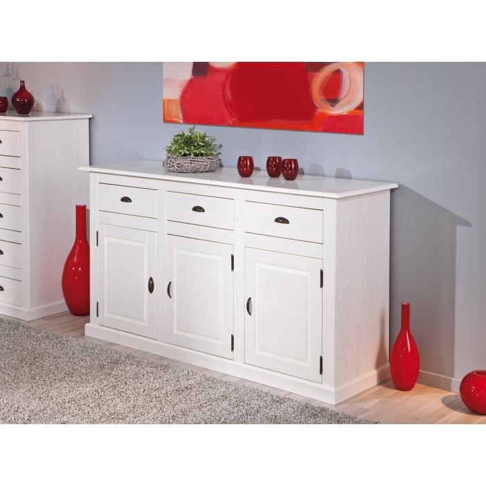 buffet bahut contemporain en pin massif blanc cassis achat vente buffet bahut buffet bahut. Black Bedroom Furniture Sets. Home Design Ideas