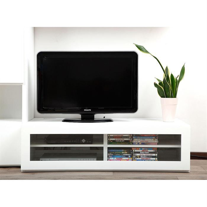 Meuble tv design lumineux blanc laqu symbiosis achat for Photo meuble tv design
