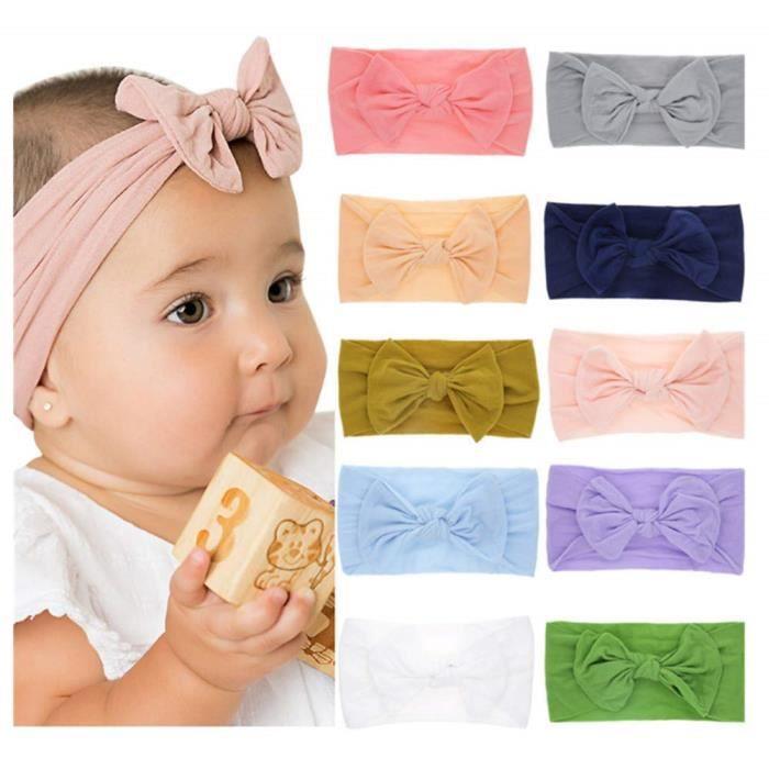 B/éb/é Filles Bandeau,9 Pack /Élastique Bowknot Bandeau N/œud Turban Headwrap pour Fille Enfants Infantile Infant Multicolore