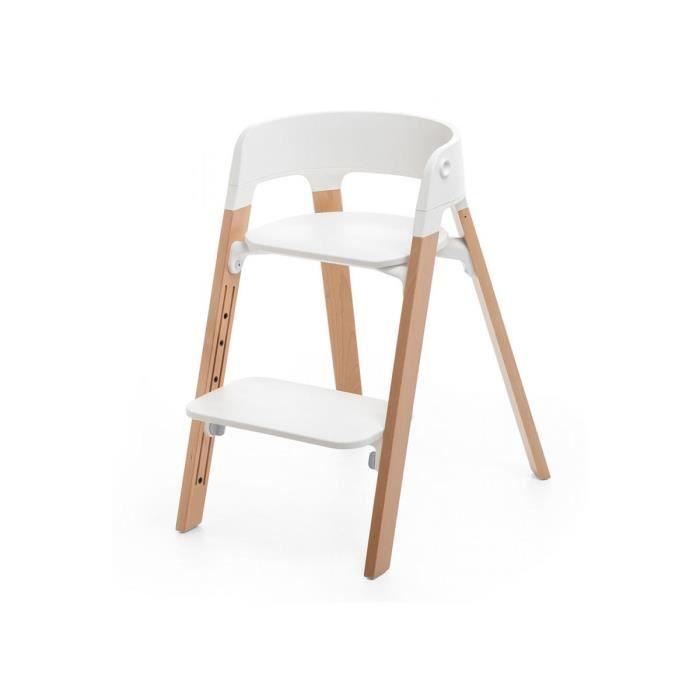 PORTE MONNAIE Chaise STEPS assise blanche pieds en bois de hetre