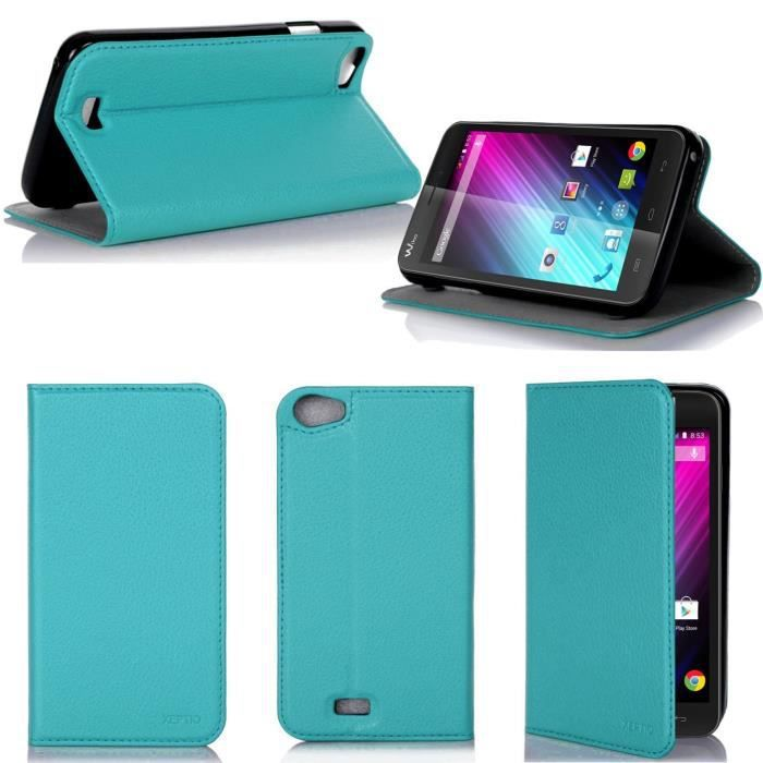 Etui coque wiko lenny turquoise housse pochette achat for Housse wiko lenny 4