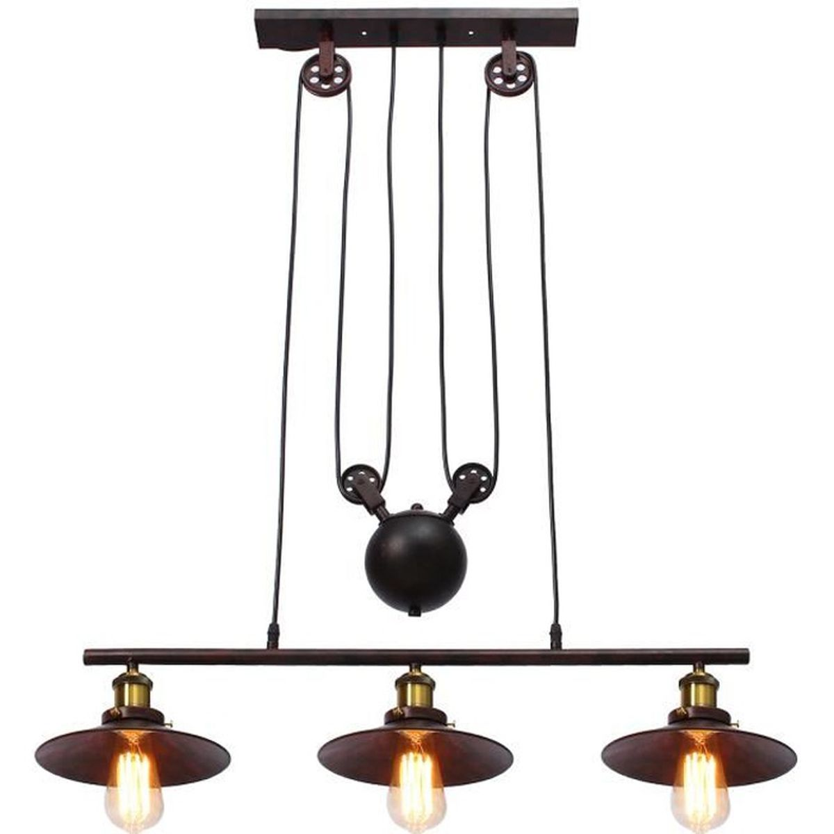 Neufu suspension luminaire en 3 lampes ajustable r tro for Lustre ou suspension