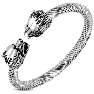 BRACELET - GOURMETTE Bracelet loup jonc en acier modèle Aroadna