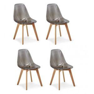 CHAISE Lot 4 chaises - Style scandinave - Fumé transparen
