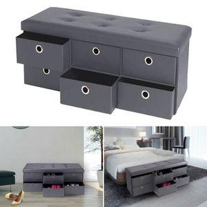 BANC Banc coffre rangement gris 6 tiroirs 100X38X38 cm