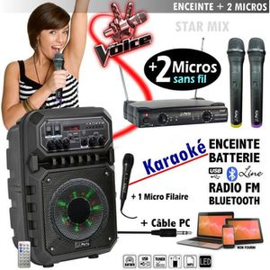 MICRO - KARAOKÉ KARAOKE avec 2 MICROS sans fil ENCEINTE SONO + USB