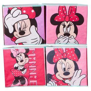 PETIT MEUBLE RANGEMENT  Lot de 4 cubes de rangement décoratifs Minnie Mous