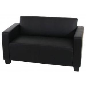 CANAPÉ - SOFA - DIVAN Canapé de 2 places Lyon en PU, coloris noir