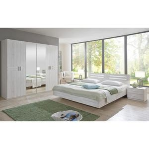 ETABLI - MEUBLE ATELIER Chambre adulte 190 X 140 cm imitation chêne blanc/