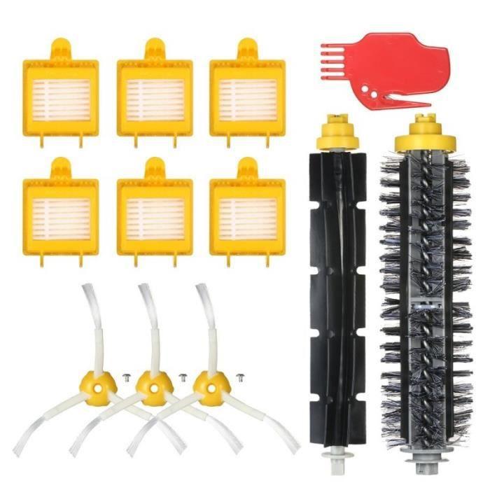 Aspirateur Kit d'Accessoires 12Pcs Brosses Flexibles Brosses Latérales HEPA Filtres pour iRobot Roomba 700 Séries 760 770 780 790